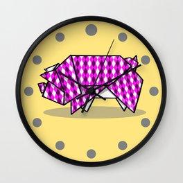 Origami Pig Wall Clock