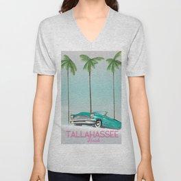 Tallahassee Florida travel poster, Unisex V-Neck