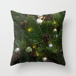 Festive Christmas Tree Throw Pillow