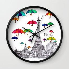 Travel with Umbrella Wall Clock