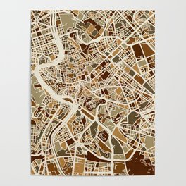 Rome Italy Street Map Poster