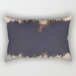 Wooded Lake Reflection  - Nature Photography Rectangular Pillow
