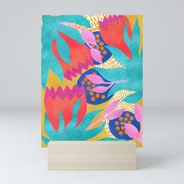 Bold Flower Pattern Yellow Background Mini Art Print