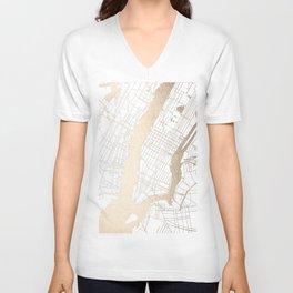 New York City White on Gold Unisex V-Neck