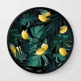 Tropical Lemon Twist Jungle Night #1 #tropical #decor #art #society6 Wall Clock