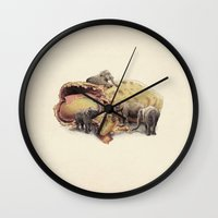 yetiland Wall Clocks featuring Elephant's Paradise by Eric Fan