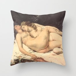 Victorian Lesbians, Gustave Courbet, 1866 Throw Pillow