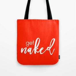 Get Naked // White on Red Tote Bag