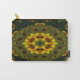 Large Yellow Wildflower Kaleidoscope Art 6 Carry-All Pouch