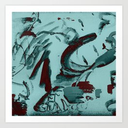 Abstract Paint Blue-Green Tonal Art Print