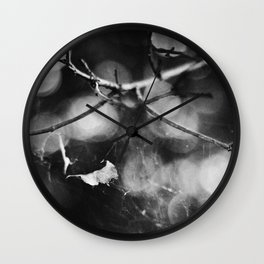 Leaf Caught in a Web Wall Clock