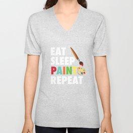 Eat Sleep Paint Repeat Art Gift Drawing Artist Unisex V-Neck