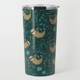 Sloths, Emerald Green, Cute Little Sloth Print, Sloth Decor, Hand-Drawn Illustration Travel Mug