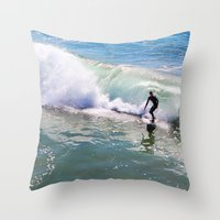 surfer Throw Pillows featuring Surfer by Sam Cockayne