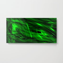 Saturated green and smooth sparkling lines of grass tapes on the theme of space and abstraction. Metal Print
