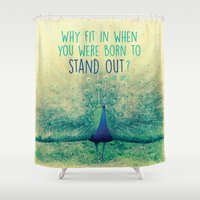 peacock Shower Curtains featuring Peacock  by Graphic Tabby