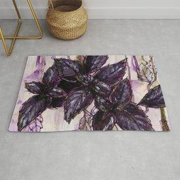 Herb Garden, Purple Basil art Rug