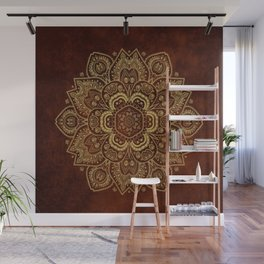 Gold Flower Mandala on Red Textured Background Wall Mural