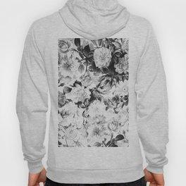 Black gray modern watercolor roses floral pattern Hoody