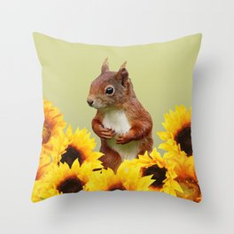 Squirrel in Sunflower Blossoms Field Throw Pillow