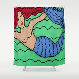 Abstract Digital Painting of a Red Haired Mermaid Shower Curtain