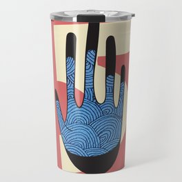 High Five in Blue Travel Mug