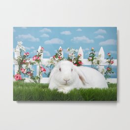 White lop eared bunny in a flower garden Metal Print