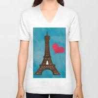 eiffel V-neck T-shirts featuring Eiffel by Daniela Marti