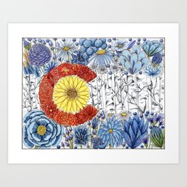 Colorado Flag with Flowers Art Print