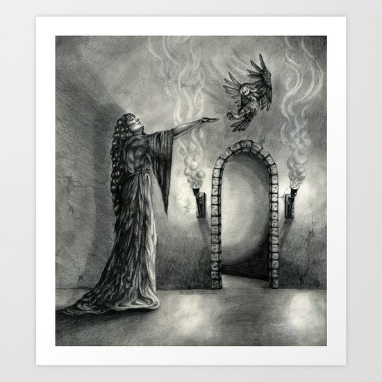 The Owl and the Witch Art Print