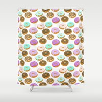 junk food Shower Curtains featuring Donuts - junk food treat funny illustration with happy food face doughnuts pastry bakery by CharlotteWinter