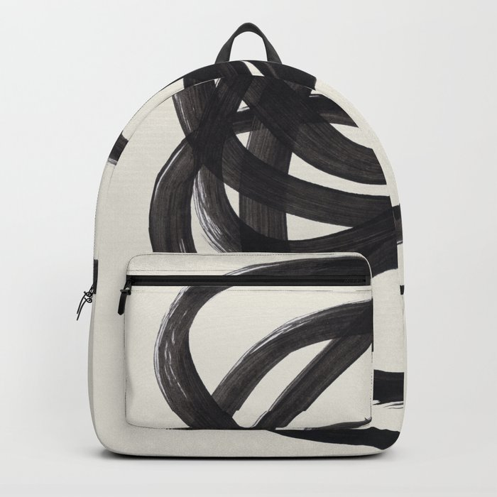 Mid Century Modern Minimalist Abstract Art Brush Strokes Black & White Ink Art Spiral Circles Rucksack