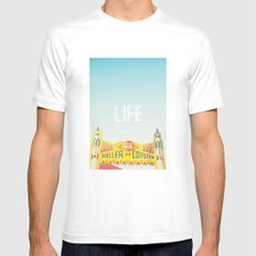 Life Is A Roller Coaster MEDIUM White Mens Fitted Tee
