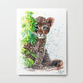 Little Leopard watercolor Metal Print