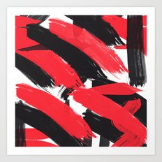 Modern Abstract Black Red Brush Strokes Pattern Art Print