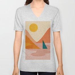 Abstraction_Lake_Sunset Unisex V-Neck
