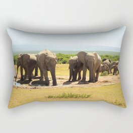Elephants at the waterhole Rectangular Pillow