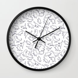 Dinosaurs Outline Pattern Wall Clock
