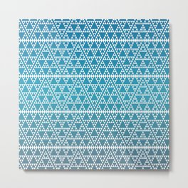 Triangles in Triangles White on Blue Metal Print