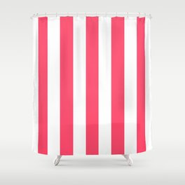 Infra red pink - solid color - white vertical lines pattern Shower Curtain