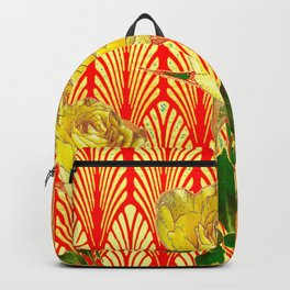 GRAPHIC YELLOW ROSE GARDEN ON RED ART DECO Backpack