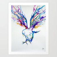 birds Art Prints featuring Achilles by Marc Allante