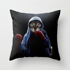 Boxing Cool Cat Throw Pillow