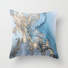 Gold and Blue Marble Throw Pillow