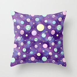 Need Some Space! Kawaii Galaxy Doodle Throw Pillow