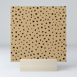 Cheetah Spots animal print minimal wild cat speckles and dots Ginger yellow Mini Art Print