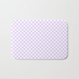 Chalky Pale Lilac Pastel Color and White Checkerboard Bath Mat