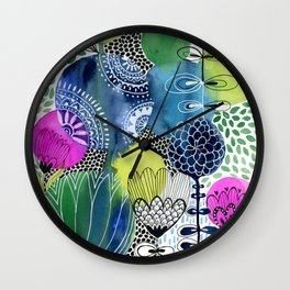 Indigo Blooms Wall Clock