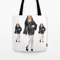 nicolas cage Tote Bags featuring Nun-olas Cage by SharkNoises