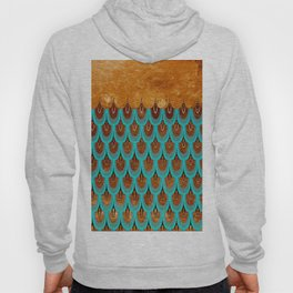 Copper Metal Foil and Aqua Mermaid Scales- Abstract glitter pattern Hoody